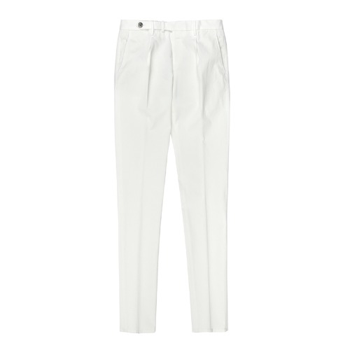 BYRON. One Pleats Belted Chino Pants (White)