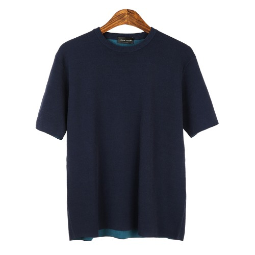 Coloration Short Sleeves Navy Knit