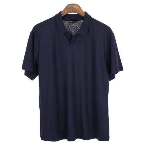 UNSCREW. Buttonless Pique Shirts(Navy)