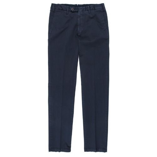 Covered Double Button Cotton Navy Pants