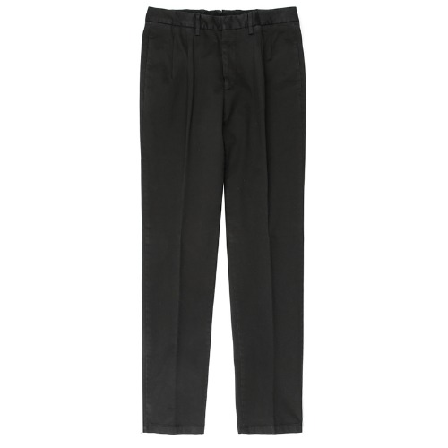Two Pleats Tailored Cotton Black Pants