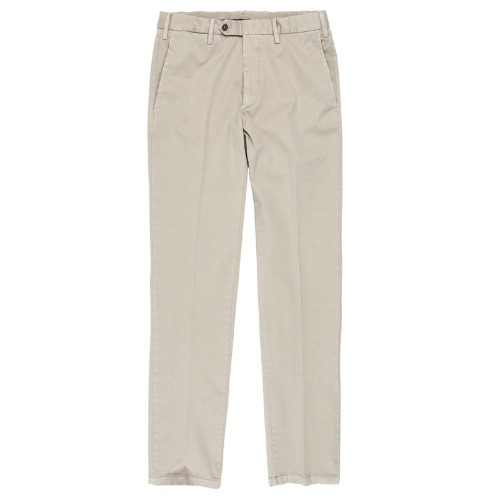 Covered Double Button Cotton Beige Pants