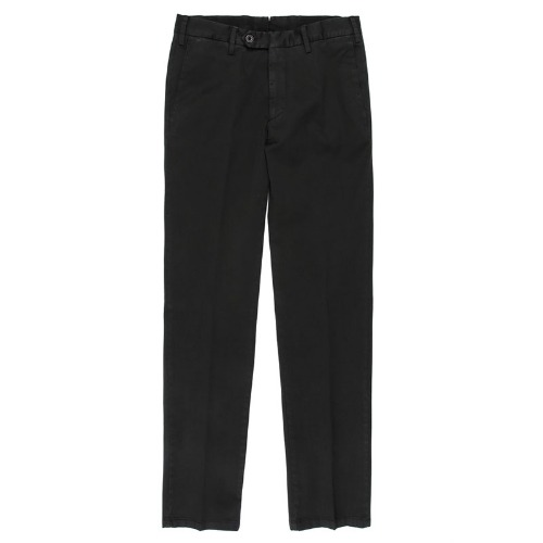 Covered Double Button Cotton Black Pants