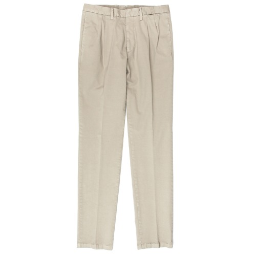 Two Pleats Tailored Cotton Beige Pants