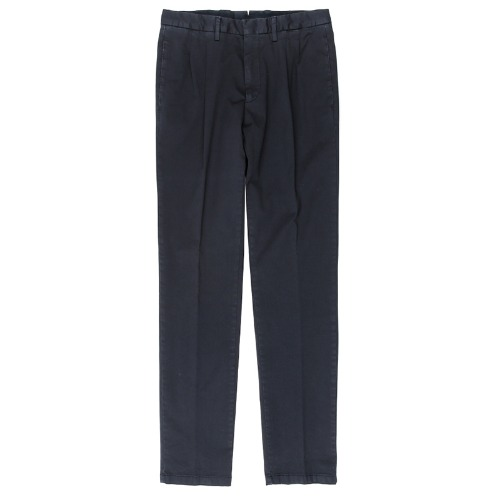 Two Pleats Tailored Cotton Navy Pants