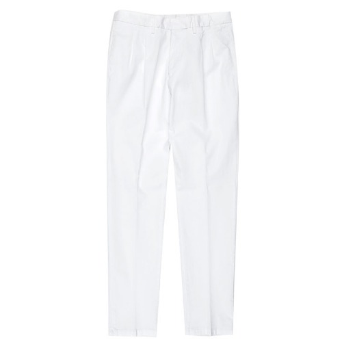Two Pleats Tailored Cotton White Pants