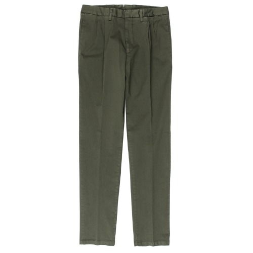 Two Pleats Tailored Cotton Khaki Pants