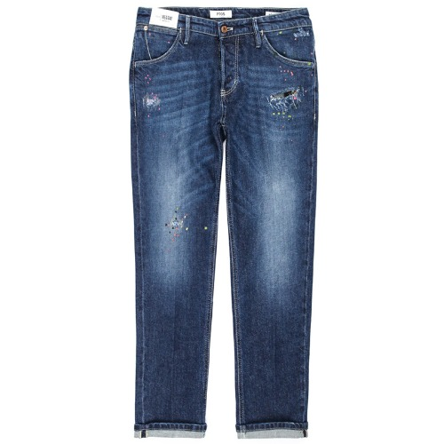 Reggae Tapered Fit Painted Spot Jeans (Dark Blue)