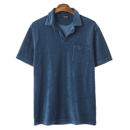 Open Collar Out-Pocket Terry T-shirts(Blue)