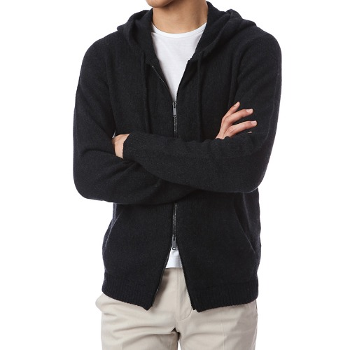 Black Soft Wool Hoodie Zip-up
