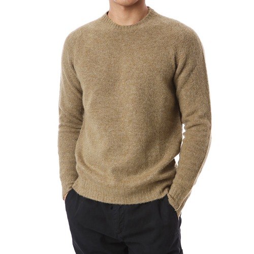 Mohair Soft Round Wool Knit (Brown)