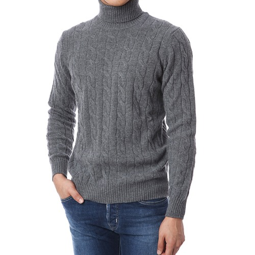 Soft Cable Wool Cashmere Turtleneck (Gray)
