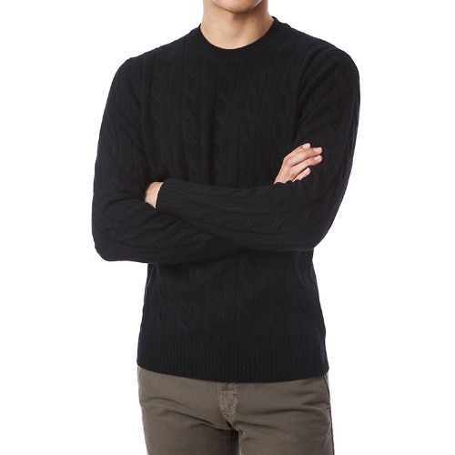 Soft Cable Cashmere Round Knit (Black)