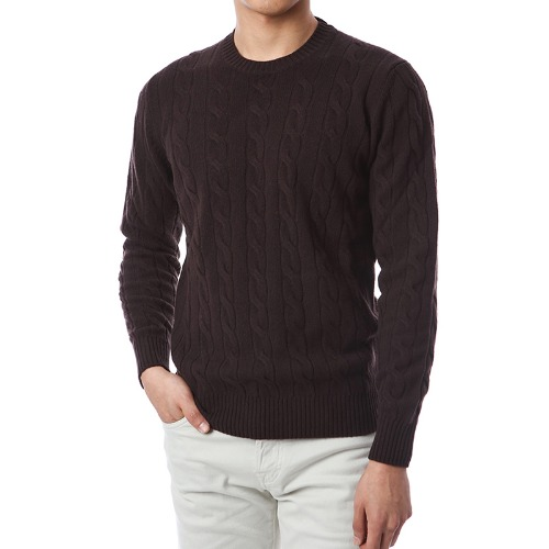 Soft Cable Cashmere Round Knit (Dark Brown)