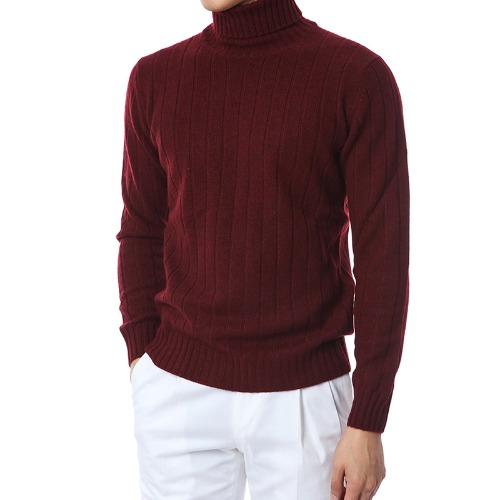 100% Pure Cashmere Lining Turtleneck (Burgundy)
