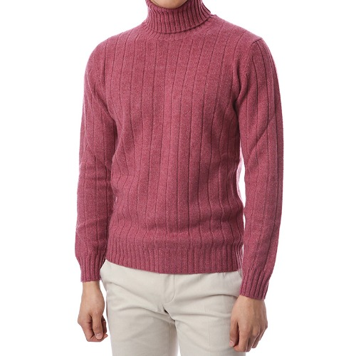 100% Pure Cashmere Lining Turtleneck (Pink)