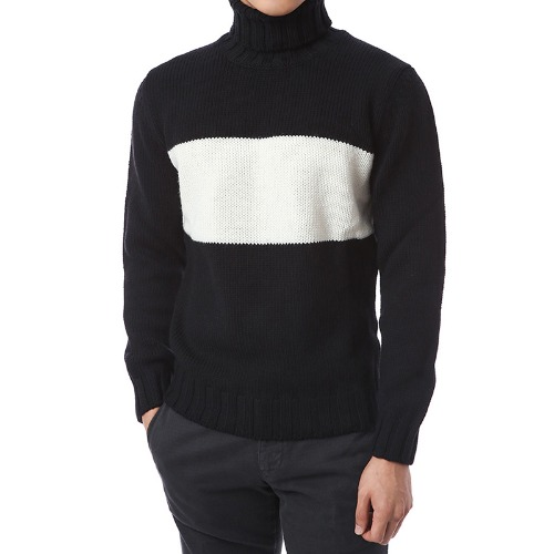 Elegant Coloration Wool Turtleneck (Black)