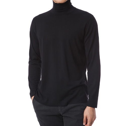 Basic.Silk Cashmere Soft Turtleneck (Black)