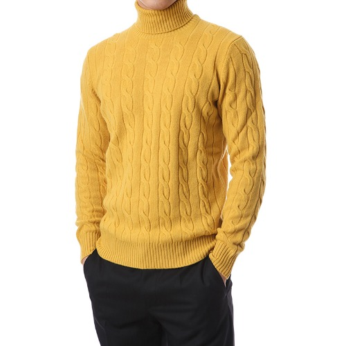 Soft Cable Wool Cashmere Turtleneck (Yellow)