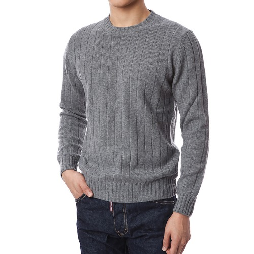 100% Pure Cashmere Lining Round Knit (Gray)