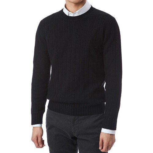 100% Pure Cashmere Lining Round Knit (Black)