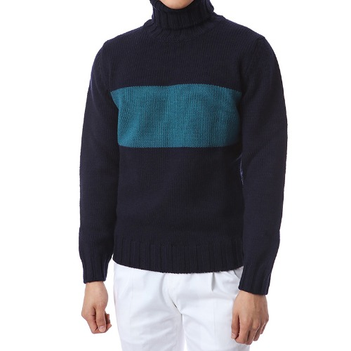 Elegant Coloration Wool Turtleneck (Navy)