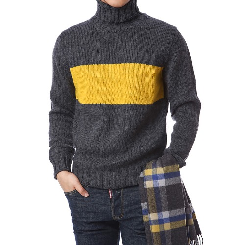 Elegant Coloration Wool Turtleneck (Gray)