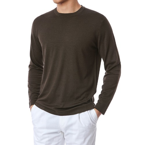 Basic.Silk Cashmere Soft Round Knit(Dark Brown)