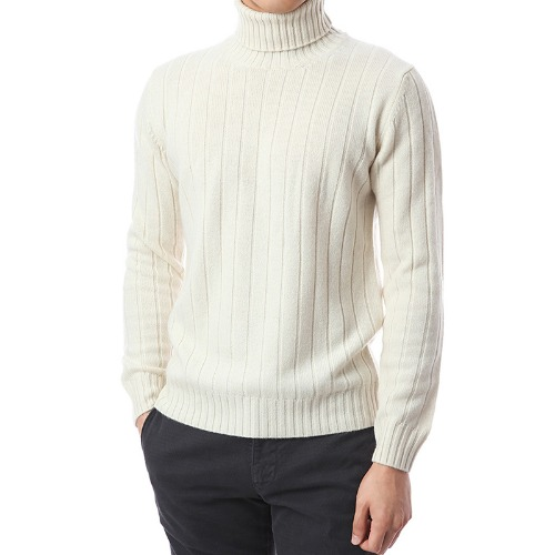 100% Pure Cashmere Lining Round Knit (Ivory)