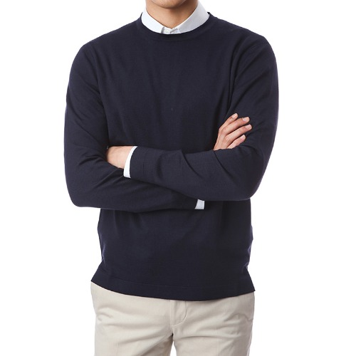 Basic.Silk Cashmere Soft Round Knit(Navy)