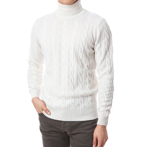 Soft Cable Wool Cashmere Turtleneck (Ivory)
