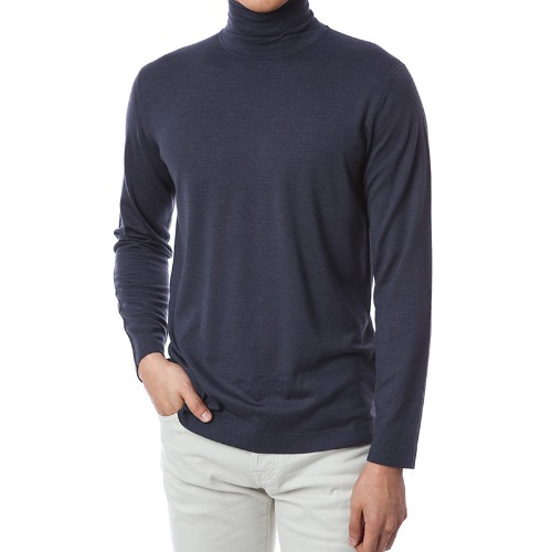 Basic.Silk Cashmere Soft Turtleneck (Charcoal)