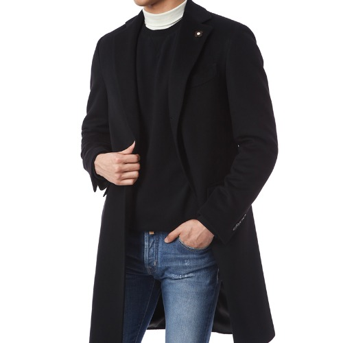 Cashmere Single Signature Black Coat