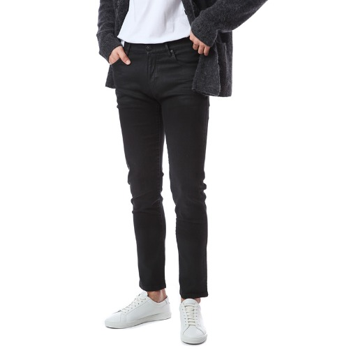 Rock. Skinny Stretch Coating Black Jeans