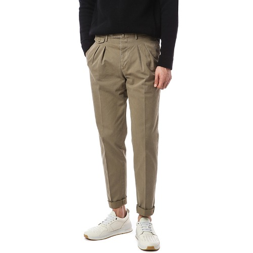 Dropper.Carrot Fit. Two Pleats Flap Pocket Pants (Beige)