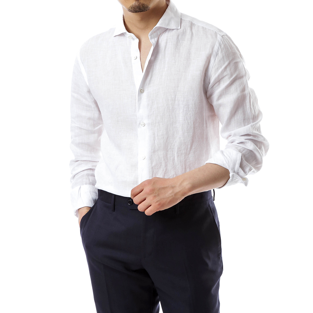 Beluga Washed White Linen Shirts