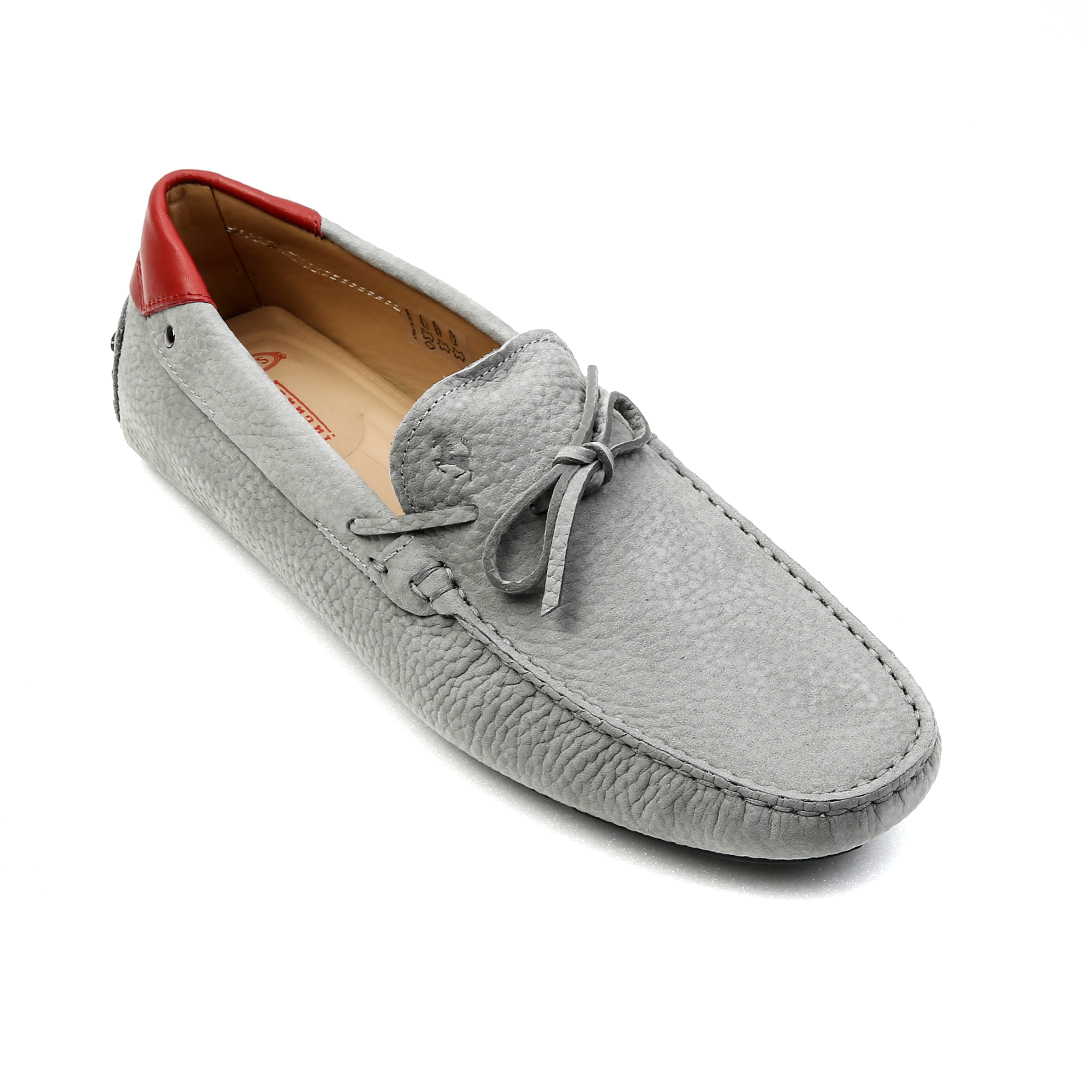 Tod's for Ferrari New Gommino Nubuck Driving Shoes (Gray, Red tap)