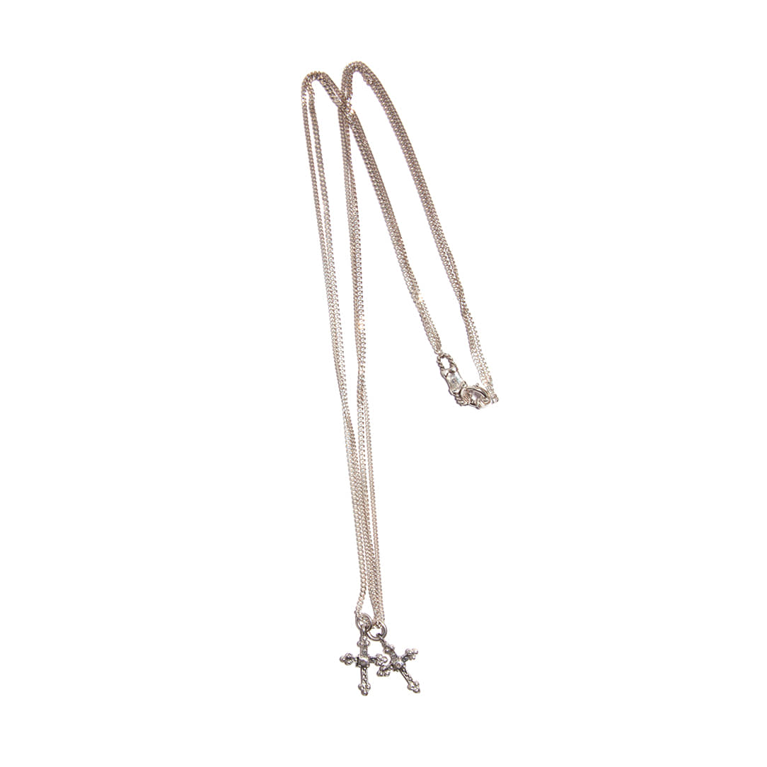 Double Cross Pendant Silver Necklace