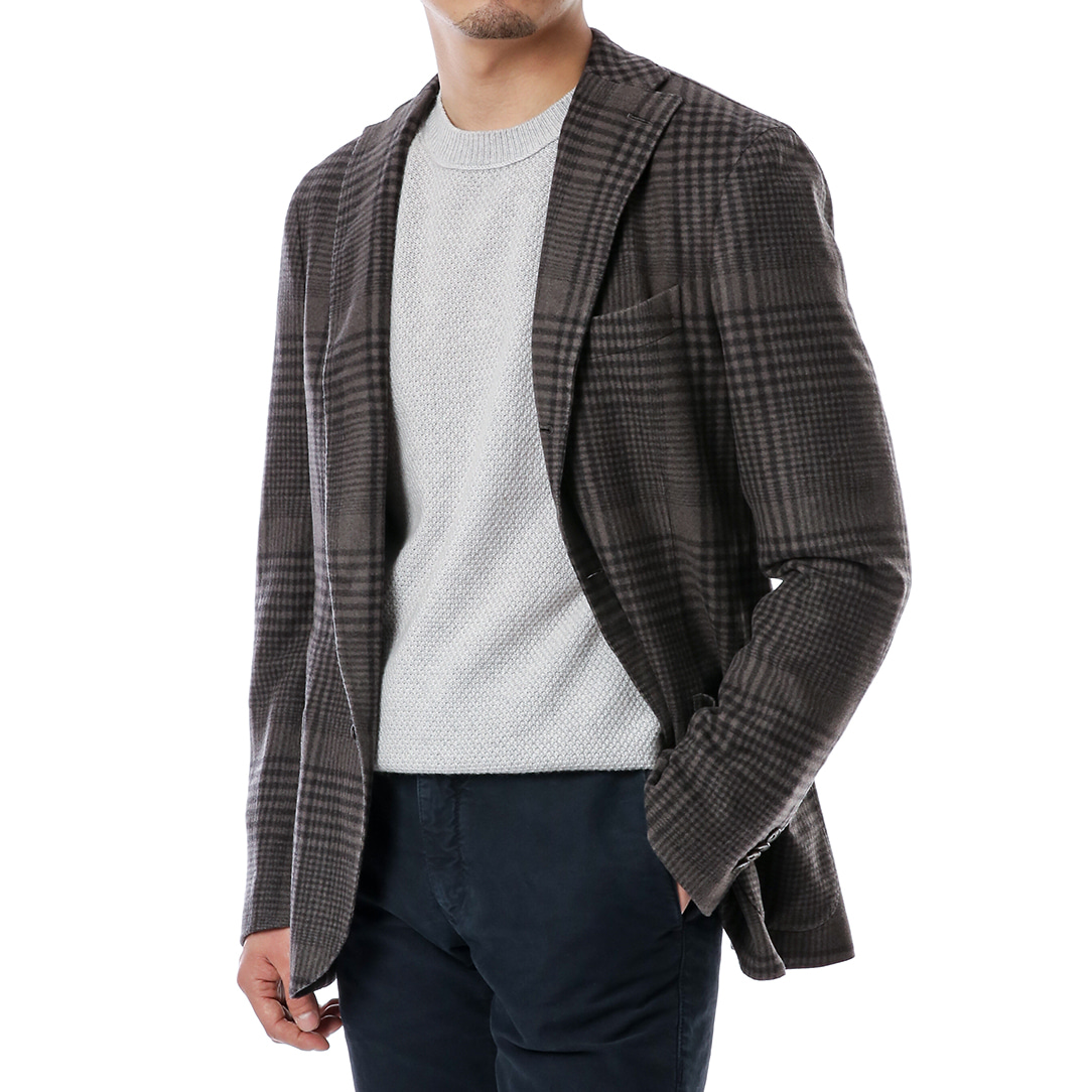 Charcoal Gray Soft Glen Check Jacket