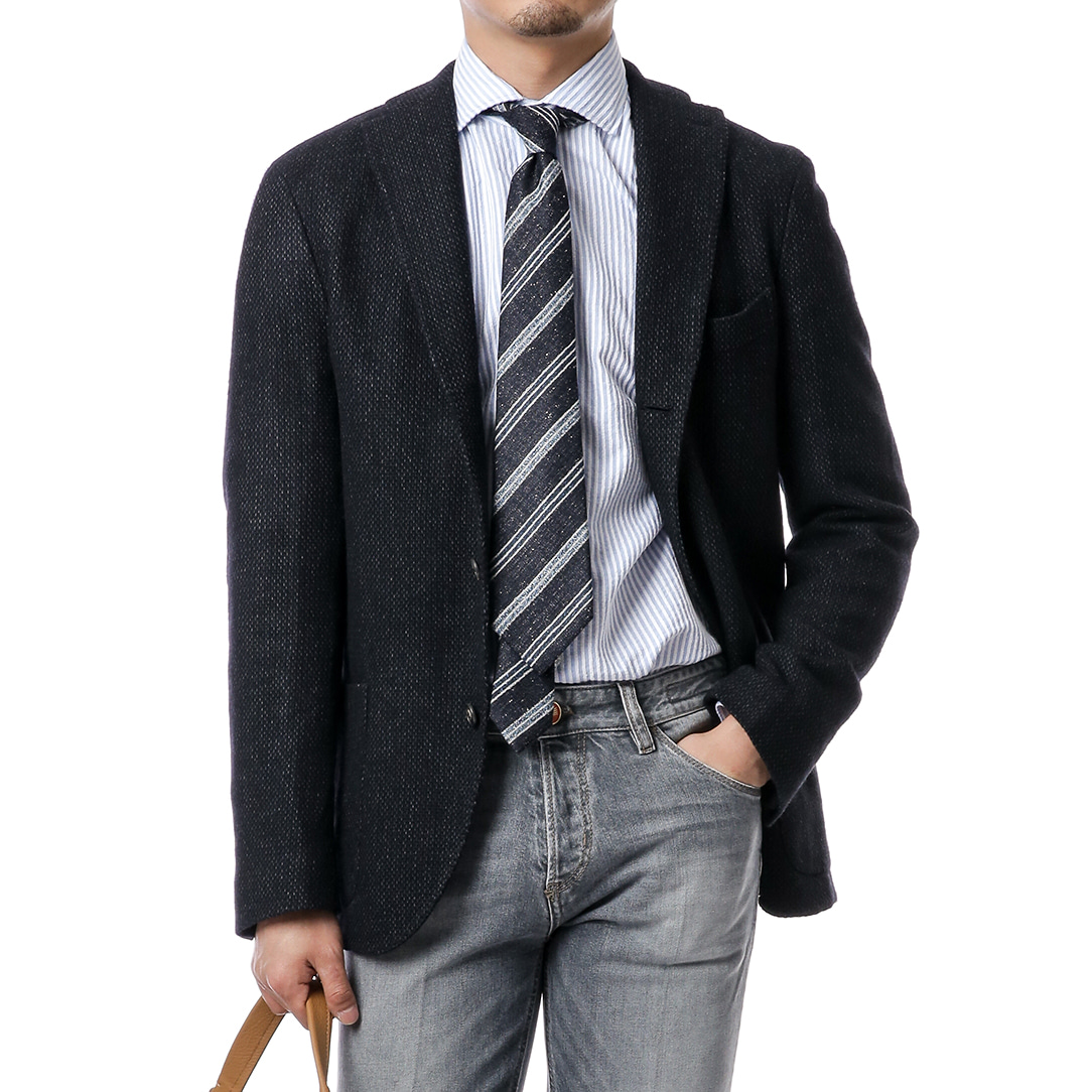 Navy Fancy Tweed Jacket