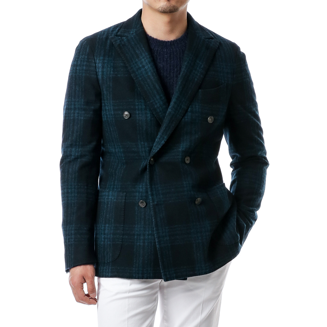 Sea Green Soft Glen Check DoubleBreast Jacket