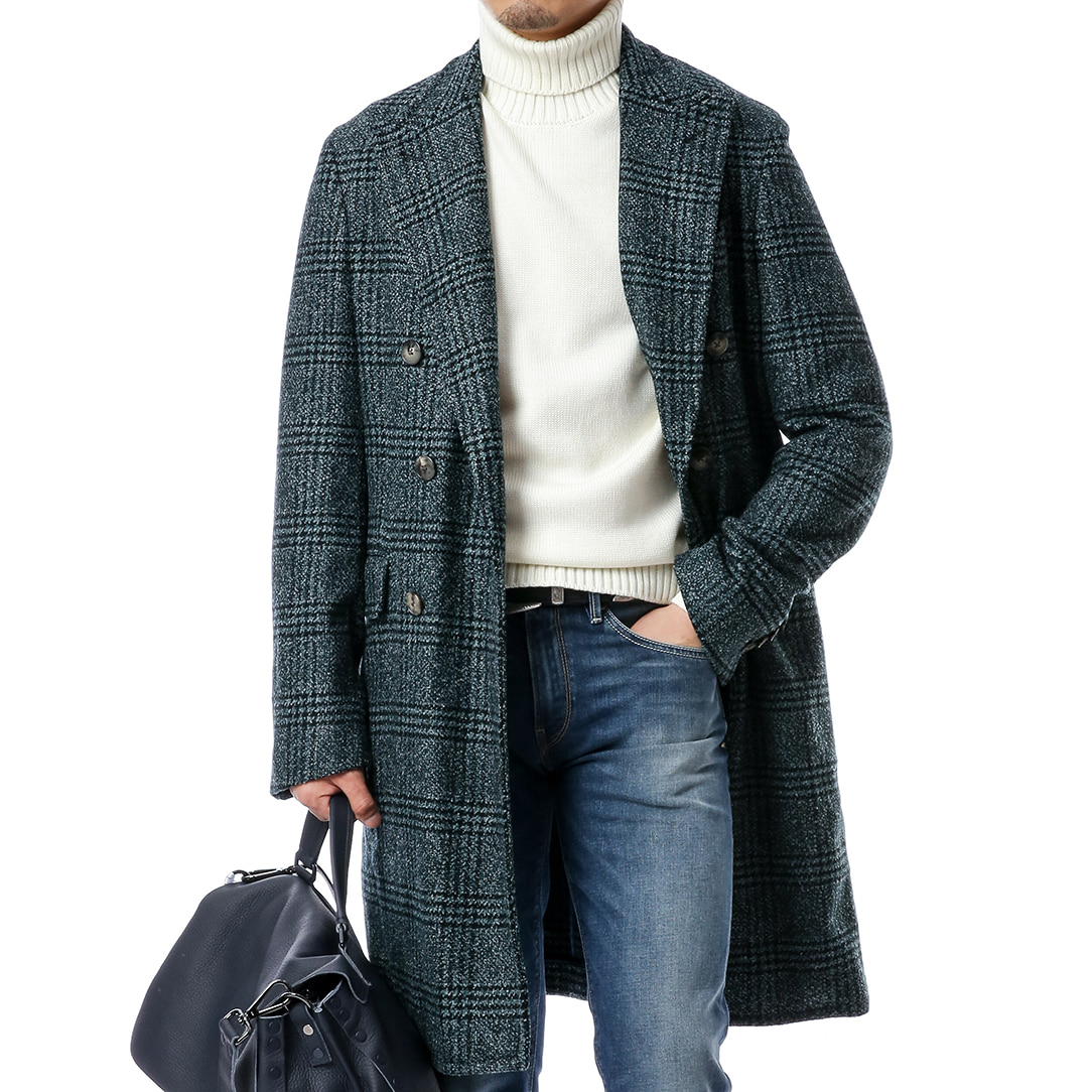 Light Green Boucle Glen Check Coat