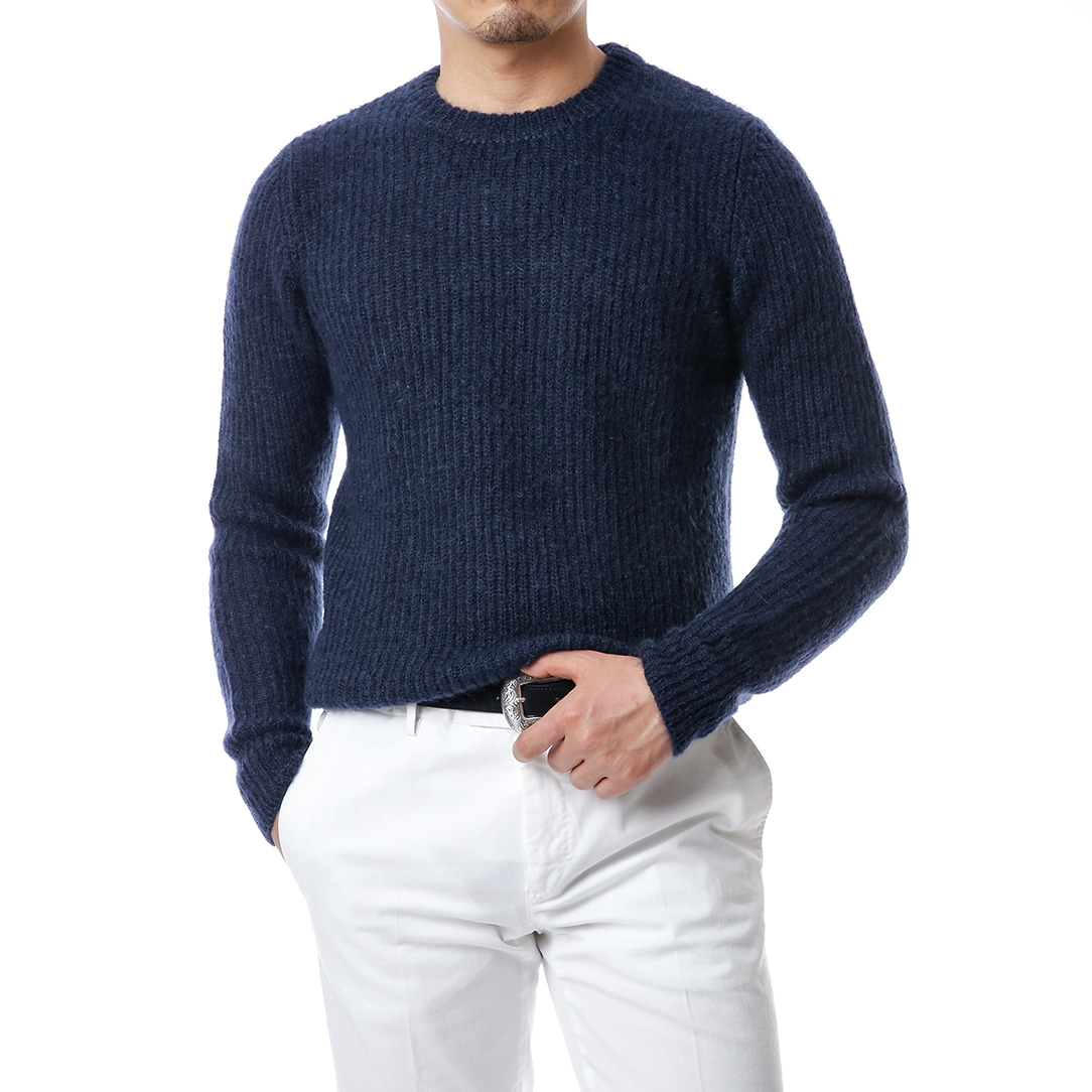 Cobalt Blue Ribbed Mohair Knit