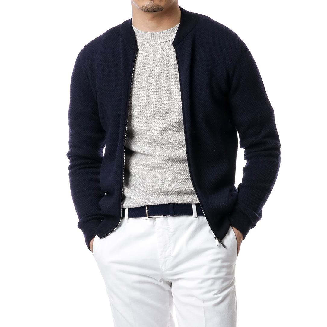 Navy Zip Up Blouson