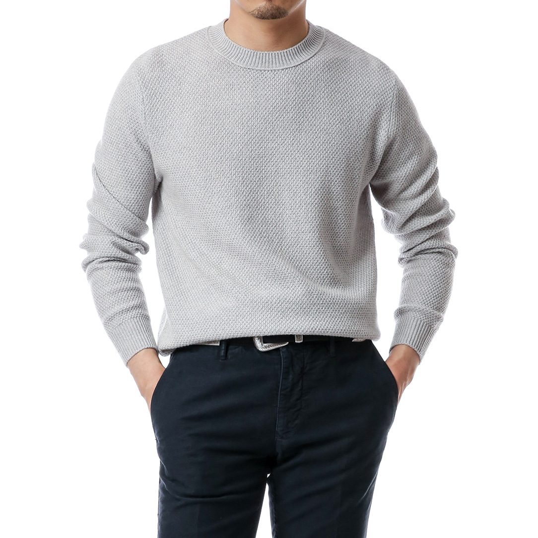 Light Gray Garter Stitch Pullover