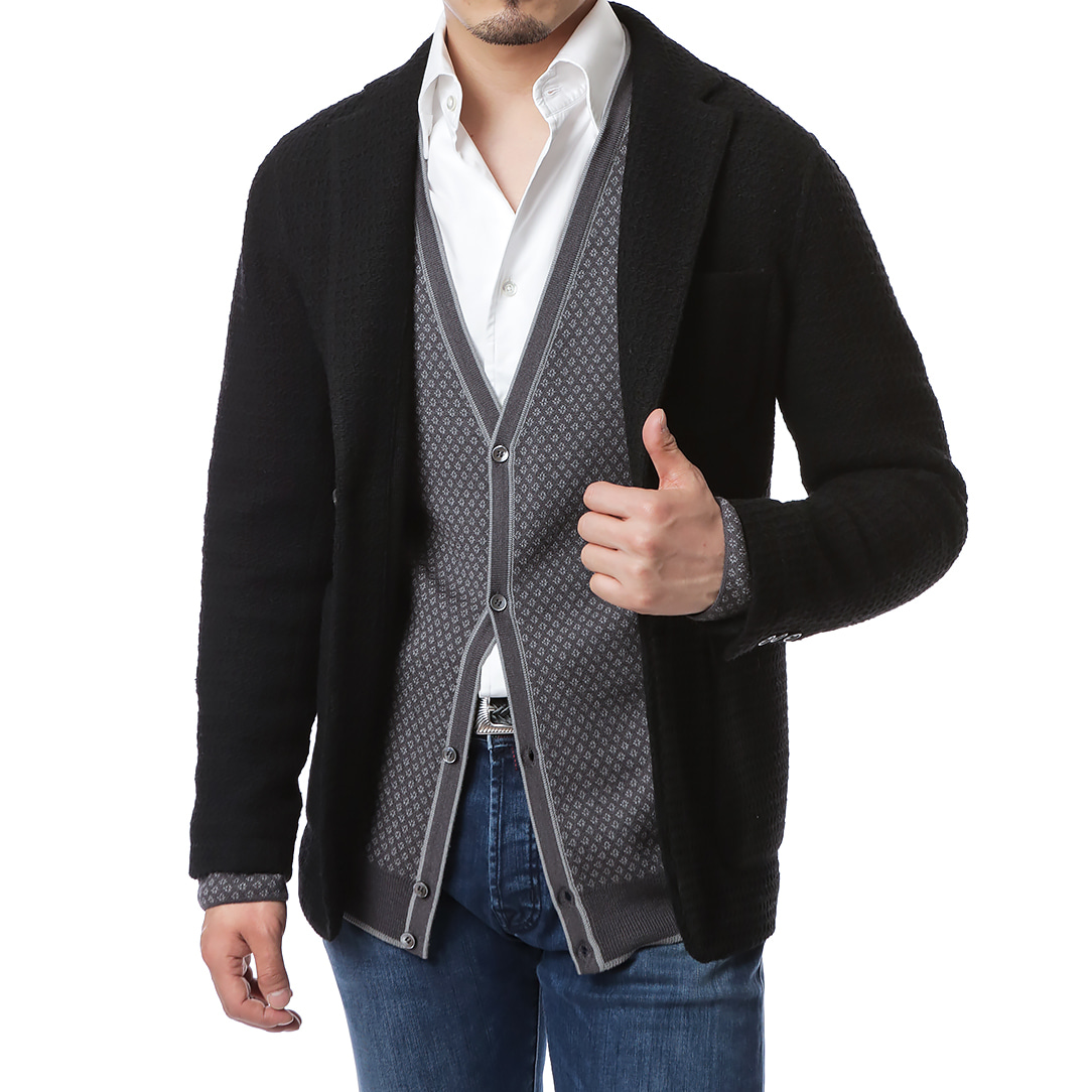 Black Tailored Knit Jacket