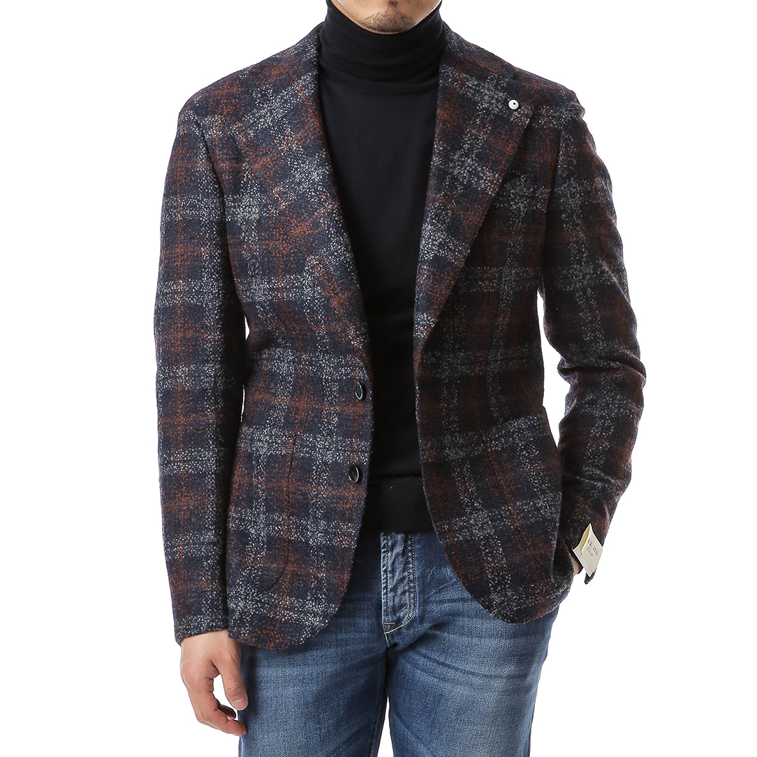 Wide Lapel Boucle Tartan Jacket