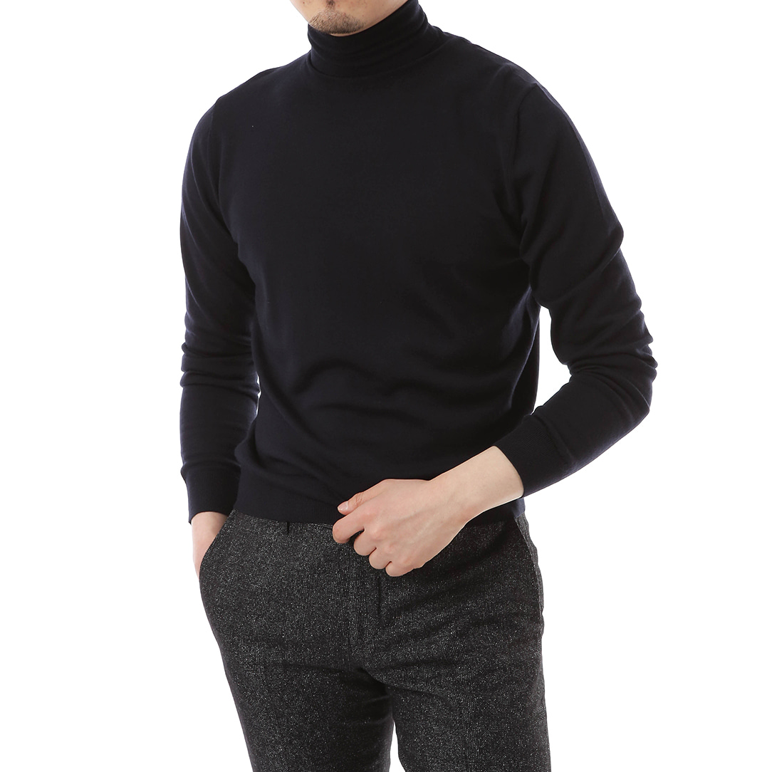 Navy Cashmere One Turtleneck