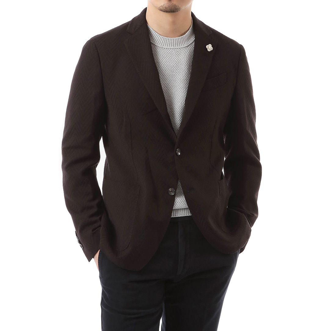 Dark Brown Shadow Herringbone Jacket