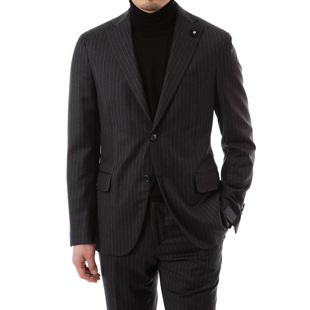 Black Drop Stripe Suit